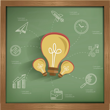 Ideas concept design on blackboard background,clean vector Vector