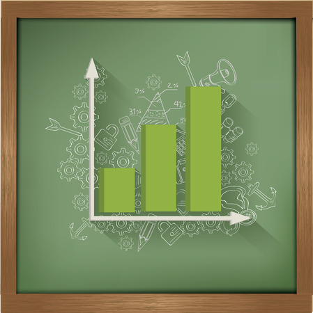 Graph up design on blackboard background,clean vector Vector