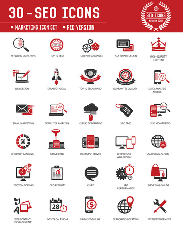 SEO & Marketing technology icons on white background,Red version,clean vector Vector