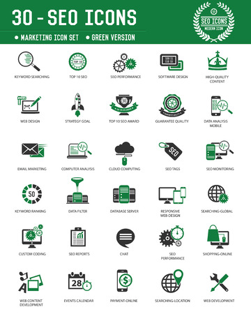 SEO & Marketing technology icons on white background,Green version,clean vector Vector