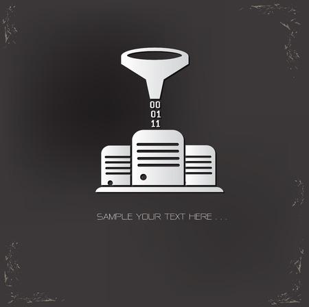 Data filter server symbol on dark background,vector Vector