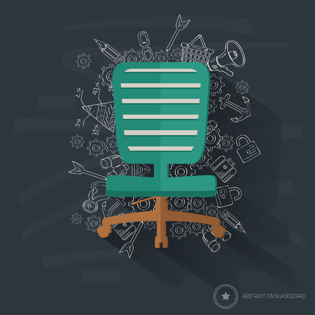 Chair design on blackboard background,clean vector Vector
