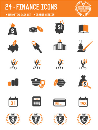 24 Financial icons on white background,orange version,clean vector Vector