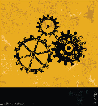 clock gears: Gears symbol on grunge yellow background,grunge vector Illustration