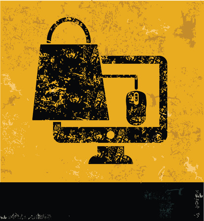 armchair shopping: Shopping on line symbol on grunge yellow background,grunge vector Illustration