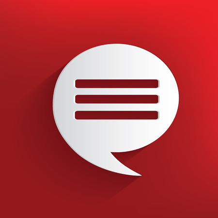 Speech symbol on red background,clean vector Vector