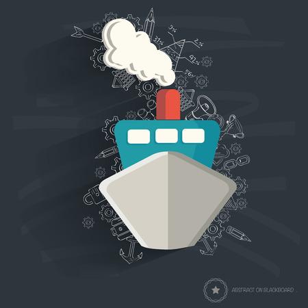 Boat design on blackboard background,clean vector Vector