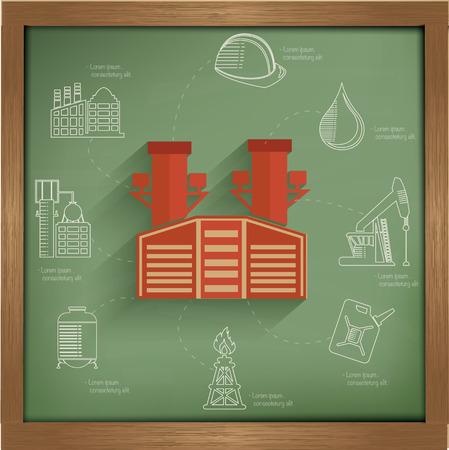 Industry concept design on blackboard background,clean vector Vector