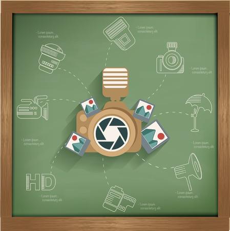 Camera concept design on blackboard background,clean vector Vector
