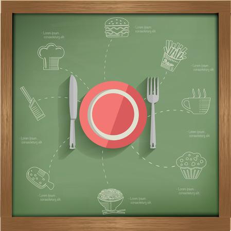 essen und trinken: Essen & Trinken Konzept auf Tafel Hintergrund, saubere Vektor