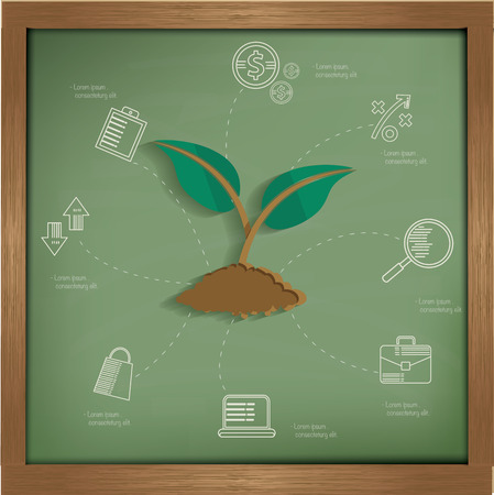 broad leaved tree: Growth business concept on blackboard background,clean vector