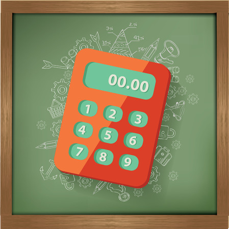 maths department: Calculate design on blackboard background,clean vector Illustration