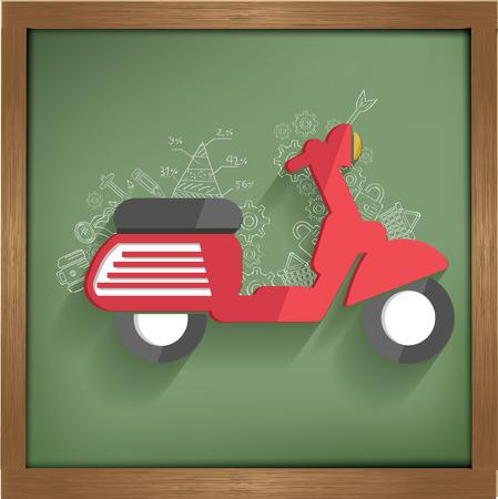 Motorcycle design on blackboard background,clean vector Vector