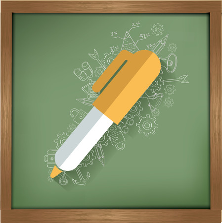 Pen design on blackboard background,clean vector Vector