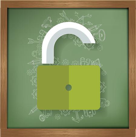 Unlock design on blackboard background,clean vector Vector