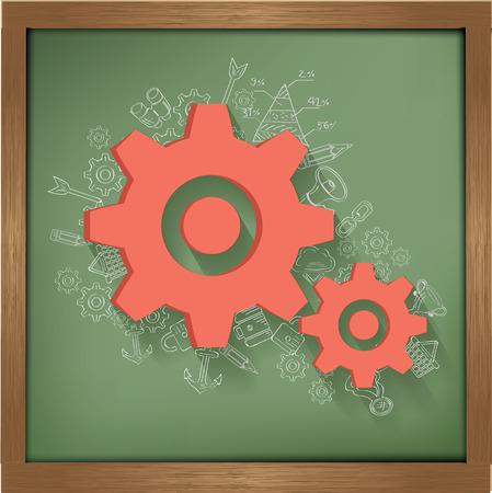 Gears design on blackboard background,clean vector Vector