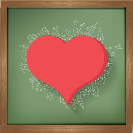Heart design on blackboard background,clean vector Vector