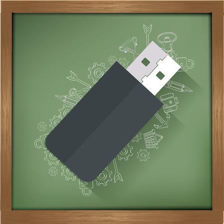 pendrive: Flash drive design on blackboard background,clean vector