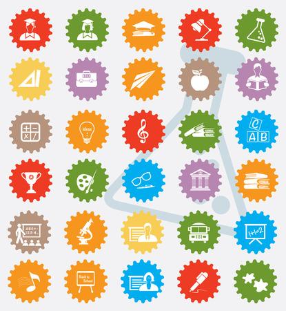 Education icon set,colour version,clean  Vector