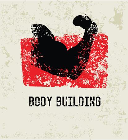 Body building simbolo grunge, grunge Vettoriali