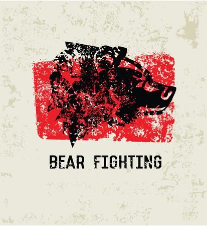 Bear fighting grunge symbol,clean  Vector