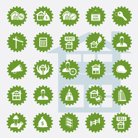 resettlement: Real estate icon set,green version,clean