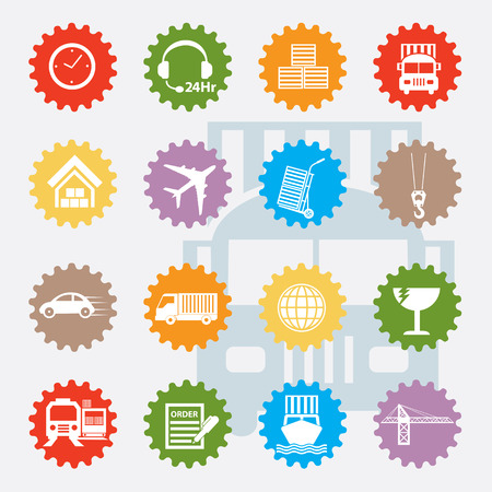 boxcar: Transport icon set,colour version,clean Illustration