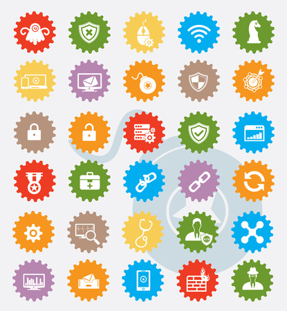Computer security and virus icon set,colour version,clean Vector