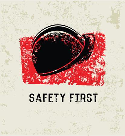 protect safety: Safety first grunge symbol,grunge