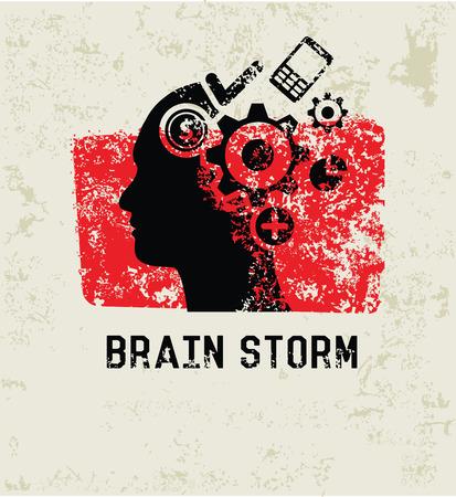 brain storm: Brain storm grunge symbol,grunge