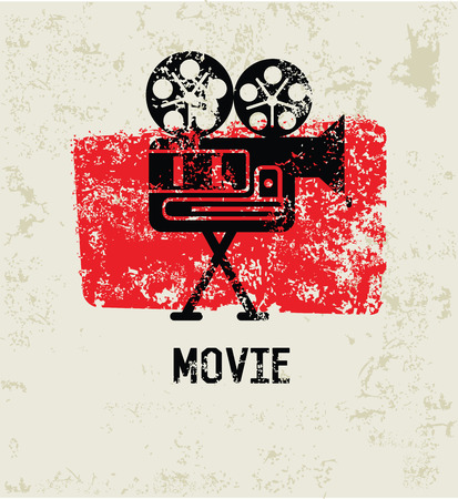 movie projector: Movie grunge symbol,clean  Illustration