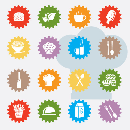 Food and drink icon set,colour version,clean  Vector