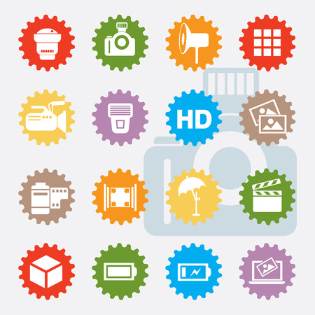 neutral density filter: Photography icon set,colours version,clean