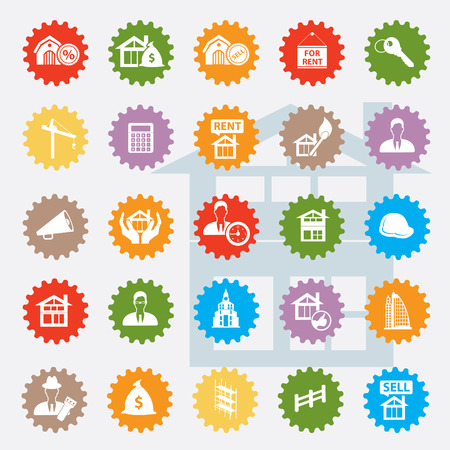 Real estate icon set,colour version,clean  Vector