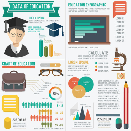 Education info graphic design on white background Vector
