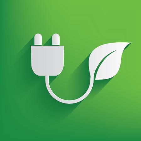 Energia ecologia su sfondo verde, vettore pulito