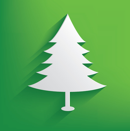 merry chrismas: Tree on green background,clean vector Illustration