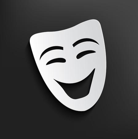 gölge: Koyu zemin üzerine Gülümseme maske sembol, temiz vektör
