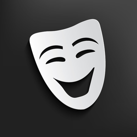 theatrical: Smile mask symbol on dark background,clean vector