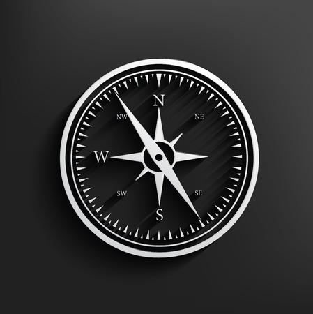 Compass symbol on dark background,clean vector Vector