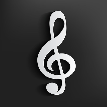 Song symbol on dark background,clean vector Illustration