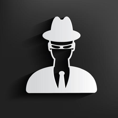 mobster: Spy symbol on dark background,clean vector Illustration