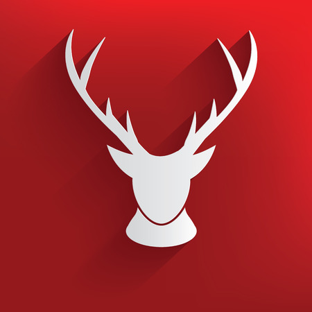 Deer on red background,clean vector Vector
