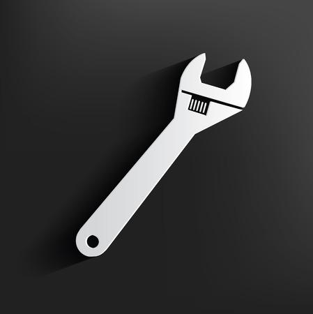 screw key: Repair symbol on black background,clean vector