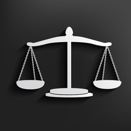 Justice symbol on black background,clean vector Vector