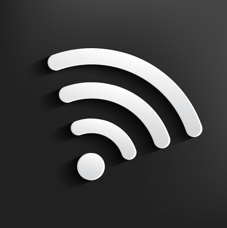wi: Wi-fi symbol on black background,clean vector Illustration