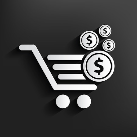 Shopping cart symbol on background,clean vector