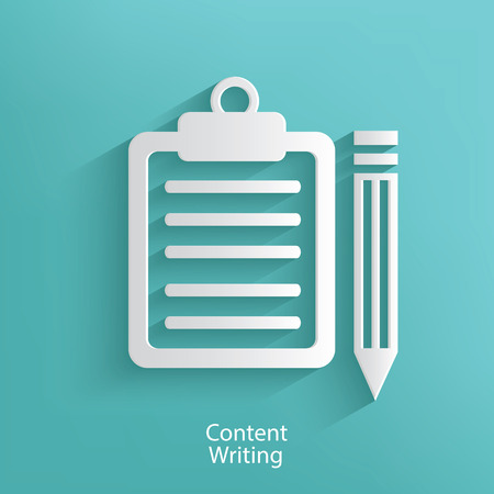 Content writing symbol on blue background,clean vector
