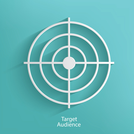 Target audience symbol on blue background,clean vector Vector