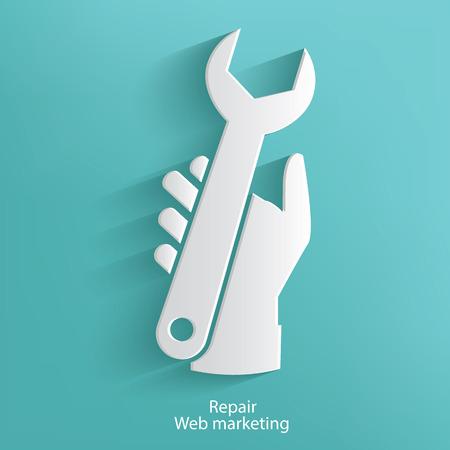 screw key: Repair website symbol on blue background,clean vector
